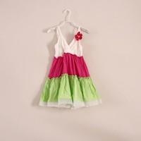 2014 New Spring Patchwork Beach Chirdren Girls Dress , Bohemian Slip Dress with 3D Flower Girls 2-7Y Free Shipping