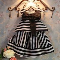 CCS160 Free shipping childrens chevron dress summer 2014 stripe and big bow baby girls dresses fashion kids dress retail