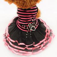 Armi store Pet Dog Rhinestones Spider Stripes Tutu Lace Skirt 71011 Puppy Princess Dress Wholesale