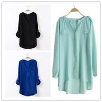Plus Size L- XXXL Women Chiffon Blouses Shirts Pockets Rivet Ladies Blouse Long Spring Shirts Fish Tail Women's Clothing KL1007