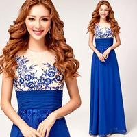 elegant halter blue long evening dress 2014 fashion Luxury retro long dreses plus size vestido de novia longo .1861 kc