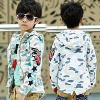 Free shipping  Autumn new arrival 2014 children's clothing Camouflage star embroidered short boy trench outerwear