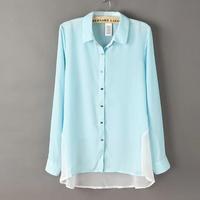 Women Chiffon Blouses Shirts Pockets Ladies Blouse Long Spring Shirts patchwork Women's Clothing KL1008