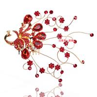 Free Shipping! Fashion Red Rhinestone Peacock Bridal Hair Accessories Wedding Hair Jewelry