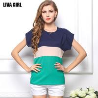 Free shipping 2014 new summer Korean large code chiffon shirt baggy T-shirt color short sleeved fresh linen batwing coat MT0188