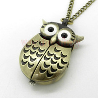 Bronze Night Owl Necklace Pendant Quartz Pocket Watch Chain Men Women P27