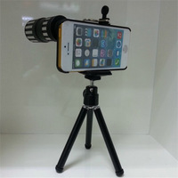 Aluminum Metal 12x Zoom Optical Telescope Camera Aluminum telephoto Lens for iPhone 5 and 5S With Tripod Holder Back Case
