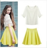 summer new European style cotton Sweet round neck blouses and skirts set