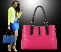 Free shipping 2014 New High quality famous brand designer European Fashion Hot Sale 3 Layers Plaid PU Leather Bag Women handbag