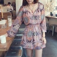 Free Shipping Spring/Fall Clothing 2014 New Women Fashion Casual Bohemian Print Long Sleeve Chiffon Dress LQ4627