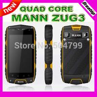 Free Shipping Waterproof android phone Original MANN ZUG3 Qualcomm Quad Core RAM1GB GPS 3G WCDMA ZUG 3 rock v5 A8 A9+FREE GIFT
