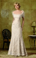 M2618 Elegant two pieces with cape trumpet style long lace mother of the bride dresses