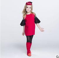 2014 new autunm girls red dress kids lace dress girls fashion cloth big brand