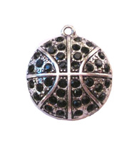 antique silver plated  studded with sparkling Basketball Black crystal sports Pendant,free shipping 60pcs a lot