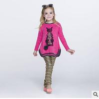 2014 new autunm girls long cartoon dress kids wool dress girls fashion clothes big brand