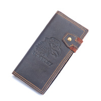 100% genuine leather men's wallet long-section head cowhide wolf pattern male purse big capacity free shipping