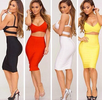 Women 2014 fashion 2 pieces 4 color DEEP V sleeveless tank knee-length sexy prom cocktail clubwear bandage dress free ship HL282