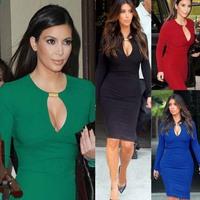 2014 New Long Sleeve Vintage Knee Length Women Bodycon Casual Dress vestidos de fiesta Tunic Party Pencil Dress Plus Size CD1323