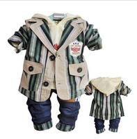 new 2014 kids striped clothing sets 3pcs boys blazers kids clothes sets children outwear boy coat retail wholesale kids jeans
