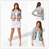 2014 New Blazer Women Fashion Spring Autumn Slim Suit Ladies Turn-down Collar Blazer Grey Short Coat Jackets Clothes 851541