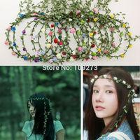 5pcs 17 colors lady girls flower crown wedding accessories party floral flowers garland forehead bridal headwear headband boho