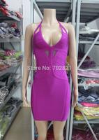 New fashion 2014 DEEP V purple tank mesh patchwork see through hollow back mini sexy prom cocktail club-wear bandage dress HL283