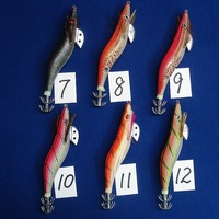 Hot sale! High Quality Squid Jig wood shrimp 3.5# 13.4cm/20g fishing bait 6 Colors 6pc/lot Free Shipping