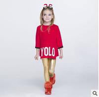 2014 new autunm D girls long dress kids letter dress girls fashion cloth 4 colors