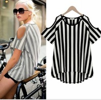 2014 women's slim strapless vertical stripe round neck T-shirt female top shirt