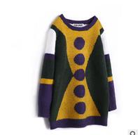 2014 new autunm D girls long dress kids dot dress girls fashion cashmere cloth