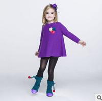 2014 new autunm girls long purple kids sweater girls fashion cashmere clothes