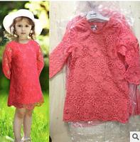 2014 new autunm D girls long dress kids lace dress girls fashion cloth big brand