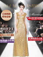 2014 autumn fashion formal dress gold slim V-neck long design champagne color paillette evening dress skirt