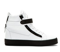 Free shipping 2014 New white genuine leather with zipper  black sole lace up low top GZ men sneakers