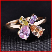 2014 New Top 18k Gold Plated AAA+ CZ Diamond Four Leaf Clover Women Ring Diamond Jewelry (SK Z401)