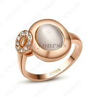 Alliance Wedding Fashion Jewelry 18K Rose Gold Plated Crystal Opals Ring Aneis Casamento R119R1