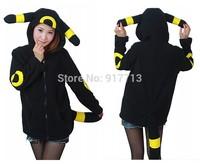 Fleece Animal Cosplay Anime Pokemon Monster Umbreon Black Hooded Hoodie Sweatshirts With Ears Tail Adult Women Men Polar Jacket