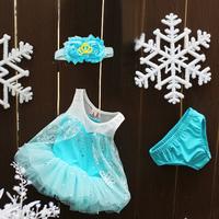 Summer Girl Baby Child Kids  Paillette Snow Lace Frozen Elsa Anna Two Piece Bathing Suit Swimsuit with Hat Crown H0140779