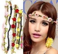 10PCS Wholesale Women Girls Bride Fashion Rose Flower Braided Leather Elastic Headwrap hairband Beach Jewelry