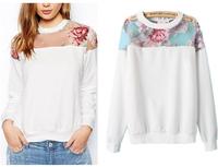 New Fashion 201407 Summer/Autumn Floral Print Thin Organza Splice Sweatershirts Women/Girl Long Sleeve  Pullover  Free Shipping