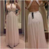 Real Photos See Through Halter Beaded White Iovry Chiffon Sexy Prom Dresses 2014 Long Open Back Evening Gowns