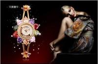 New Brand Luxury Women Rhinestone Floral Bracelet Watch Delicate Gold Plated Quartz Clock Sapphire Crystal 30M Waterproof NW1485