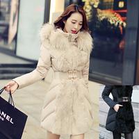 Wholesale Women Parkas Winter 2014 Long Sections Slim Down Jacket Womens Korean Padded Oversize Fur Collar Fur Parka E1490