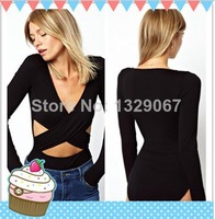 top quality free shipping drop shipping sexy lingerie hot Wrap Front and Cut out Black Teddy Club Top