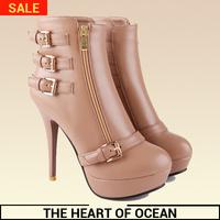 Fashion Women Mid-calf Zipper Boot Buckle High Heel Feminine boot Autumn/Winter Botas 2014 Rubber Sole Shose S083