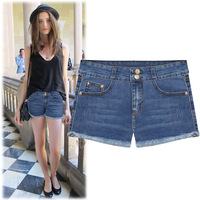 (WJS011) 2014 Women's Fashion Denim Shorts Female Summer Shorts Women's Mid Waist Distrressed