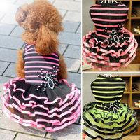 dreambows Pet Dog Stripes Print Lace Tutu Dress #dd1011 Puppy Princess Dress Free Shipping