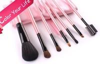 Professional 7 pcs Makeup Brush Set tools Make-up Toiletry Kit Wool Brand Make Up Brush Set Case free