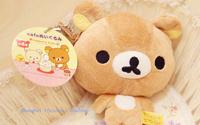 Kawaii SAN-X Rilakuma Bear Plush 12*11CM Coin Cash Purse & Wallet Pouch BAG Case ; Women Lady Handbag Case Wallet