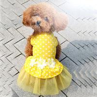 dreambows Dog Flower Polka Dot Lace Tutu Navy Skirt #dd1013 Pet Princess Costume Free Shipping